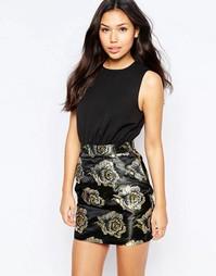 Платье 2 в 1 цвета металлик AX Paris - Черный