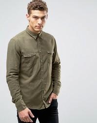 Меланжевая фланелевая рубашка слим Boss Orange Edoslime - Зеленый