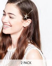 Набор из 2 заколок для волос с морскими звездами Nylon - Золотой