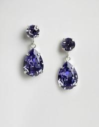 Серьги-подвески с кристаллами Swarvoski от Krystal - Синий