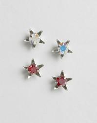 Набор из 2 пар серег-гвоздиков с кристаллами Swarovski Krystal - Серебряный