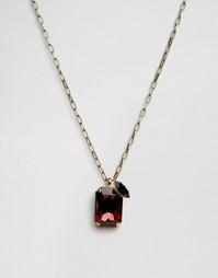 Ожерелье с прямоугольной подвеской c кристаллами Swarovski Krystal - Красный