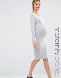 Облегающее трикотажное платье Mamalicious - Серый Mama.Licious