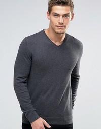 Джемпер из кашемировой смеси с V‑образным вырезом Esprit - Серый
