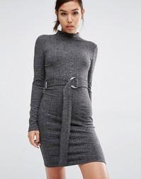 Облегающее платье с D-кольцом на поясе First & I - Черный