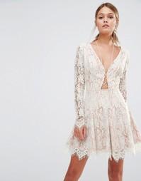 Платье мини с длинными рукавами Stylestalker - Белый