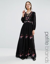 Платье макси в стиле фолк с вышивкой Boohoo Petite - Черный