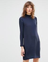 Платье мини с длинными рукавами и высокой горловиной Samsoe & Samsoe Theta - Темно-синий