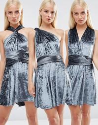 Короткое приталенное платье из мятого бархата Club L - Синий