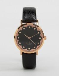 Часы с черным кожаным ремешком Kate Spade Metro 1YRU0583 - Черный