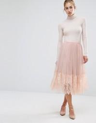 Сетчатая юбка миди для выпускного Miss Selfridge - Бежевый