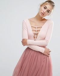 Боди с глубоким декольте и решеткой из лямок Miss Selfridge - Розовый