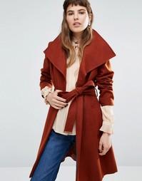 Пальто с запахом и поясом Miss Selfridge - Медный