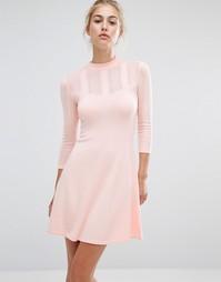 Ажурное короткое приталенное платье Miss Selfridge - Бежевый