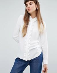 Блузка с рюшами спереди Miss Selfridge - Белый