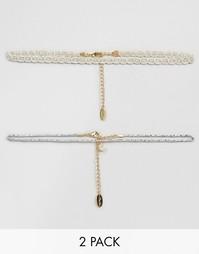 2 ожерелья‑чокер Orelia Silver Moon - Серебряный