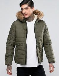 Стеганая куртка со съемной отделкой из искусственного меха Schott - Зеленый