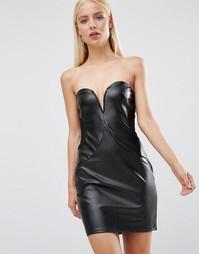 Платье из полиуретана с лифом-бандо TFNC - Черный