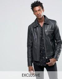 Черная кожаная куртка с молниями Black Dust - Черный