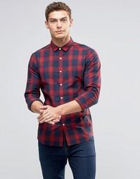 Красная облегающая рубашка в клетку ASOS - Красный