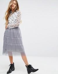Сетчатая ярусная юбка миди Navy London - Серый
