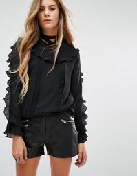 Блузка с длинными рукавами и оборками Navy London - Черный