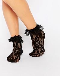 Кружевные носки с оборками Leg Avenue - Черный