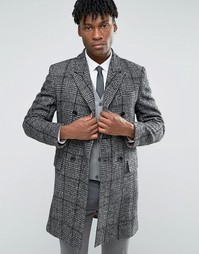 Черно-белое шерстяное пальто в клетку Devils Advocate - Черный