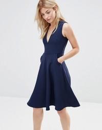 Платье с отделкой рюшами на карманах Alter - Темно-синий