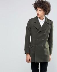 Пальто милитари из 80% итальянской шерсти Feraud Premium - Зеленый