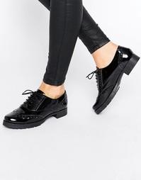 Кожаные туфли на толстой плоской подошве со шнуровкой Office Foal - Черный