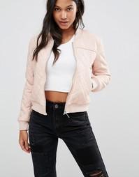 Стеганая куртка‑пилот из искусственной кожи Boohoo - Розовый
