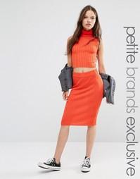 Трикотажная облегающая юбка в рубчик Noisy May Petite - Красный