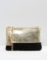 Кожаный клатч металлик со съемным ремешком через плечо Urbancode - Золотой