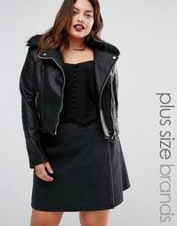 Байкерская куртка в кожаном стиле с искусственным мехом Boohoo Plus - Черный