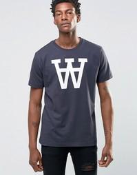 Эксклюзивная футболка с большим логотипом AA Wood Wood - Темно-синий