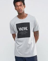 Эксклюзивная футболка с большим логотипом AA Wood Wood - Серый