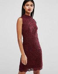 Кружевное платье мини с высоким воротом Ted Baker Latoya - Красный
