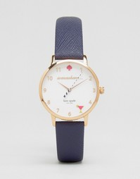 Часы с темно-синим кожаным ремешком Kate Spade Metro KSW1040 - Синий