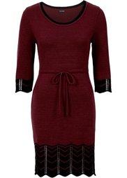 Вязаное платье (черный/экрю) Bonprix