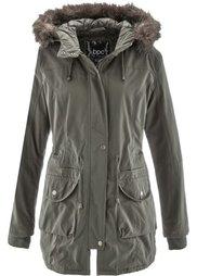 Куртка с опушкой из искусственного меха (черный) Bonprix