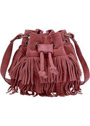 Кожаная сумка-мешок с бахромой (черный) Bonprix