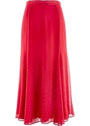 Длинная шифоновая юбка с блестящими камешками (темно-синий) Bonprix