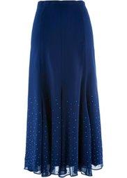 Длинная шифоновая юбка с блестящими камешками (красный) Bonprix