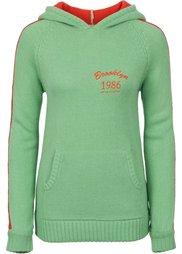 Вязаный пуловер (черный/цвет белой шерсти) Bonprix