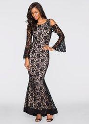 Кружевное платье (синий/светло-коричневый) Bonprix