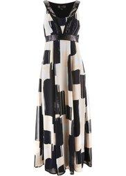 Шифоновое платье с пайетками (сапфирно-синий/черный с рисунк) Bonprix
