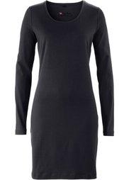 Трикотажное платье-стретч с длинным рукавом (черный в цветочек) Bonprix