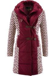 Стеганая куртка с принтом (черный/цвет белой шерсти с узо) Bonprix