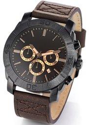 Мужские часы-хронограф на кожаном браслете (верблюжий) Bonprix